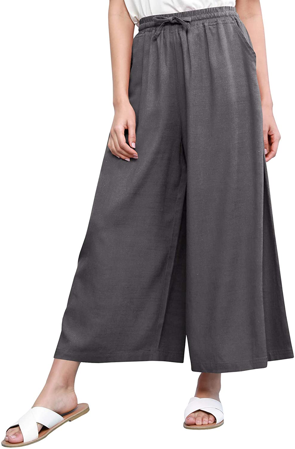 Come Together California Women's Washed Linen Casual Loose Wide Leg Pants Pocket with Draw String