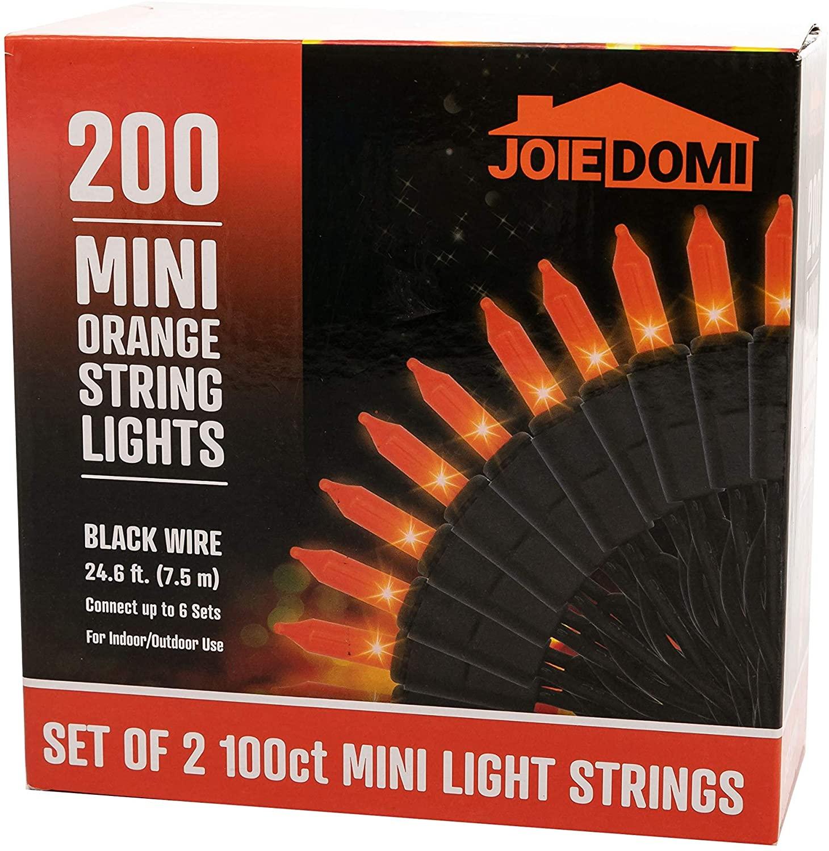 Joiedomi 49.2Ft 200-Count Orange Halloween Light with Black Wire, Pack of 2 Sets 24.6Ft 100-Count Halloween Orange String Lights for Halloween Indoor Outdoor Decoration