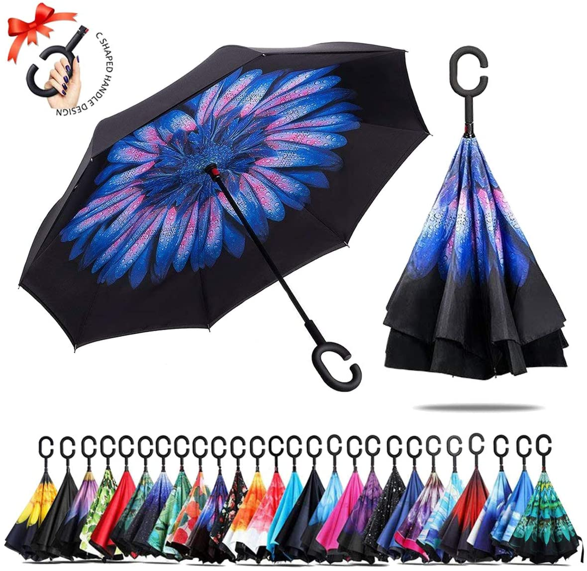 umbresen Double Layer Inverted Umbrella Cars Reverse Open Folding Umbrellas, Windproof UV Protection Large Self Stand Upside Down Straight Umbrella for Golf Women and Men with C-Shaped