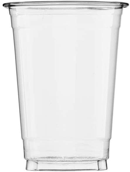 (100 Count) 12 oz Clear Plastic Cups, Disposable Crystal Clear PET Cups for Cold Drinks, To Go Iced Coffee, Juice, Soda, Bubble Boba Tea, Smoothie