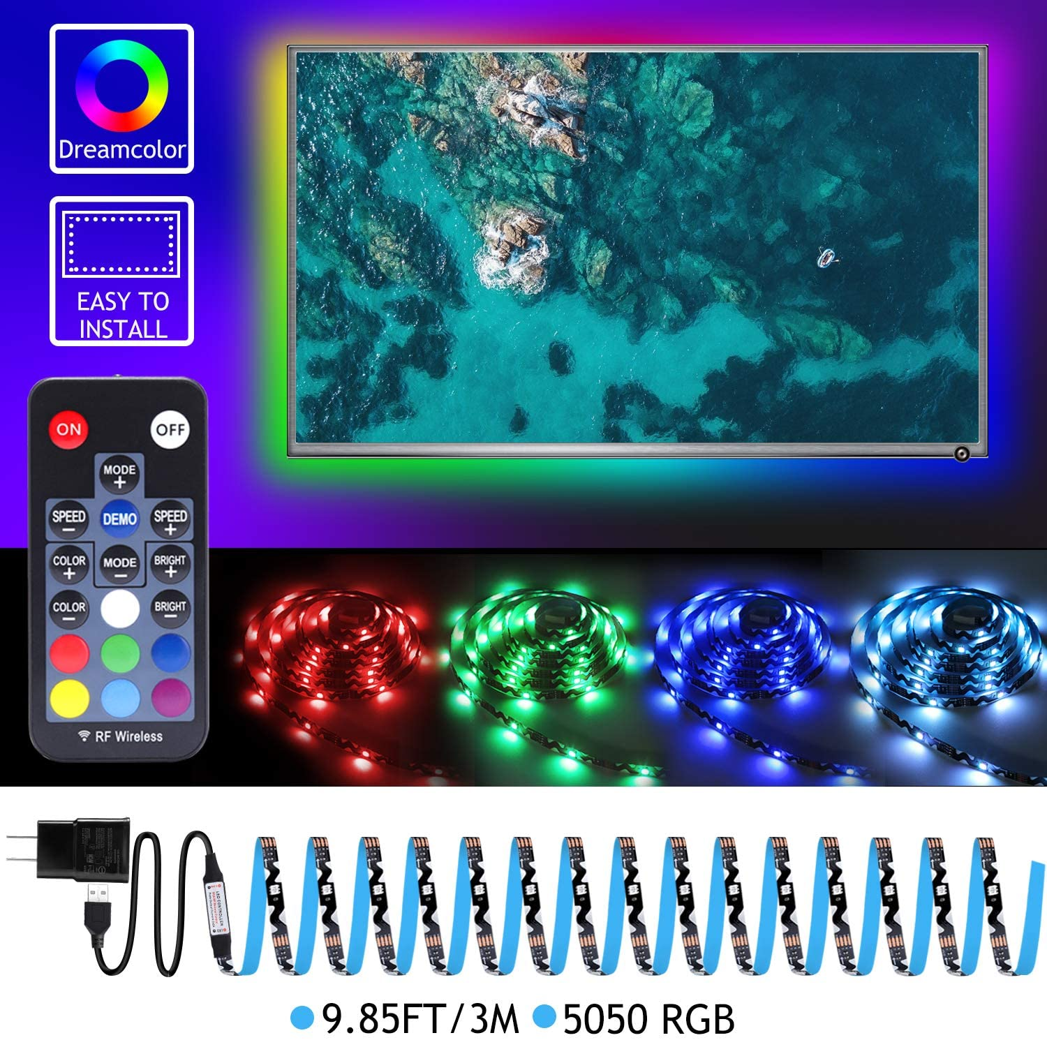 USB LED Strip Lights, 9.85ft S Shape Type Black,TV Backlight 5050RGB USB 5V with 18-Key RF Remote Controller with USB2A Power for Under Cabinet Lighting, Bias Lighting, Home Theater Decor