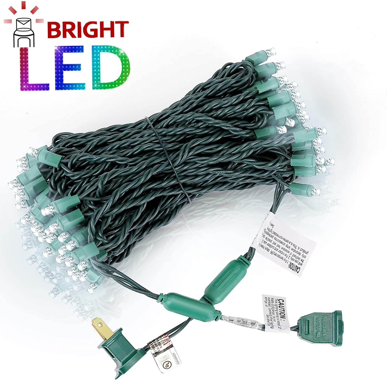 AIDDOMM LED Christmas Lights 100 Counts, for Outdoor and Indoor, Commercial Grade, Cool White Light, Green Wire, 50ft, UL Listed