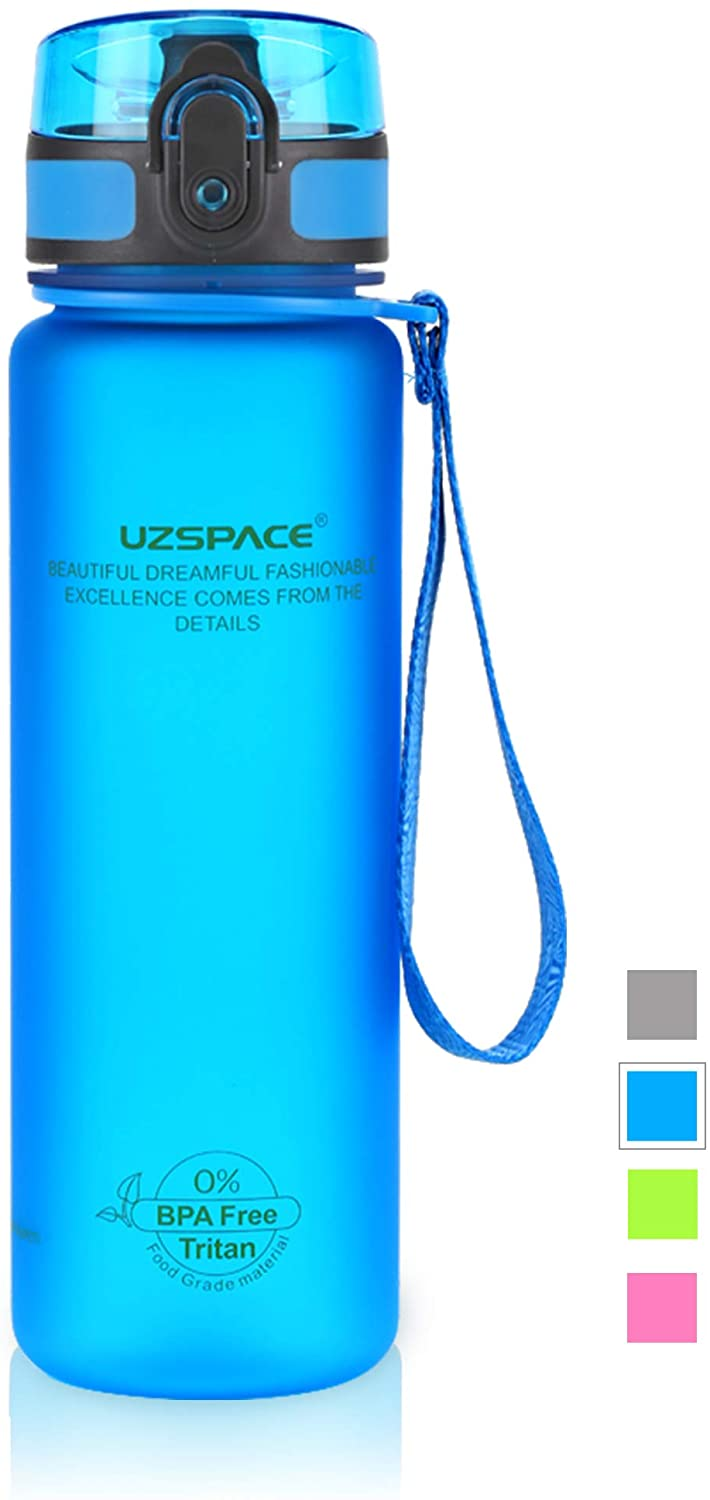 UZSPACE Sports Water Bottle 17oz-32oz,No-Toxic, BPA Free,Eco-Friendly Tritan and Reusable with Leak-Proof Lid and One Click Open for Running, Gym, Yoga, Outdoors and Camping