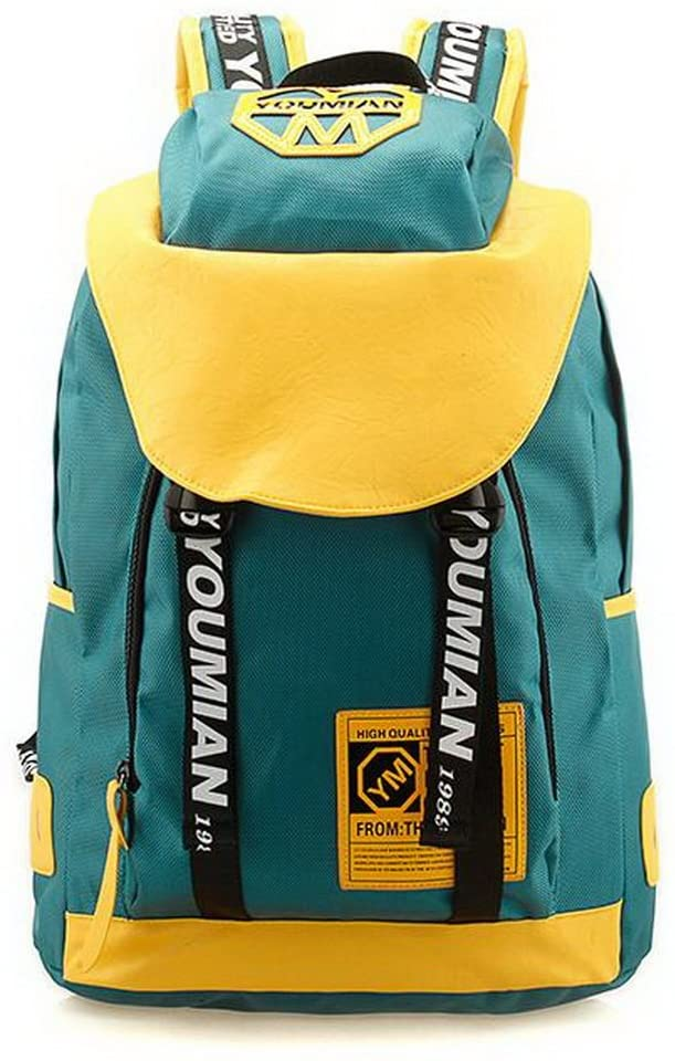 PANDA SUPERSTORE Adult Backpack Canvas Sport Backpack for Girls Yellow&Green