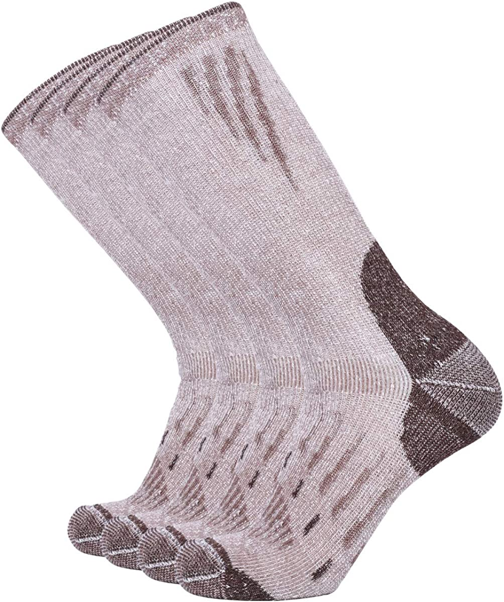 Enerwear-Coolmax 4P Pack Men's Wool Blend Merino Wool Cushion Outwork Crew Socks