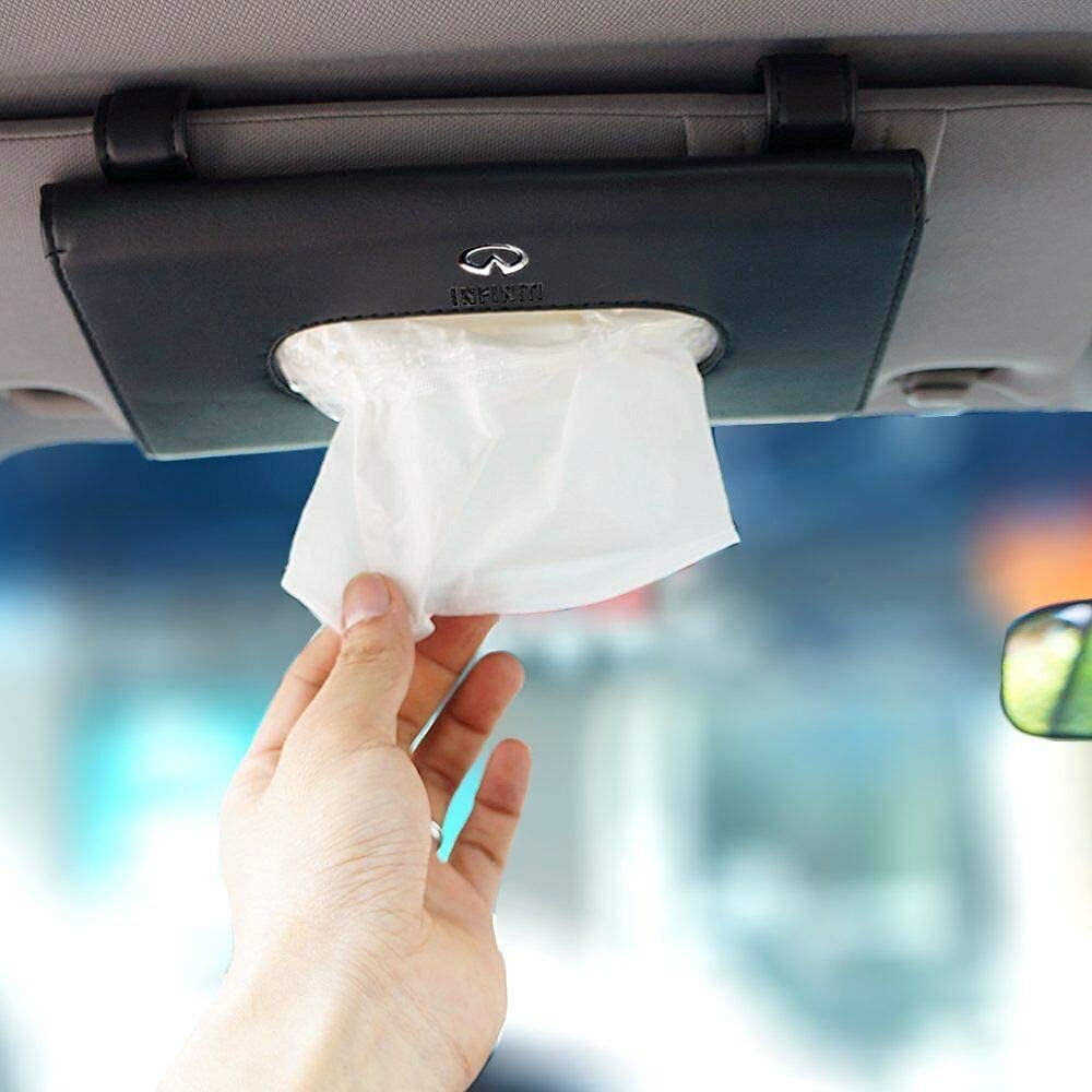 for Infiniti Logo Car PU Leather Tissue Case Napkin Holder for Visor & Backseat,for Infiniti.(Black)
