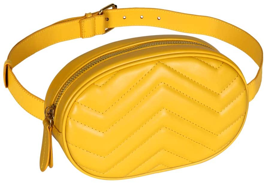 Geestock Women Waist Bags Waterproof PU Leather Belt Bag Fanny Pack Crossbody Bumbag for Party, Travel, Hiking (Yellow)
