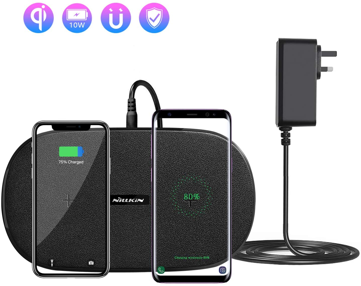 Nillkin Dual Wireless Charging Pad - Double Phone Wireless Charger, Qi Fast Charging 7.5W for iPhone 11/11Pro/XR/XS/X/ 8 Plus, 10W for Samsung S10/S9 /S8/Note 10 Airpods and More -Includes AC Adapter