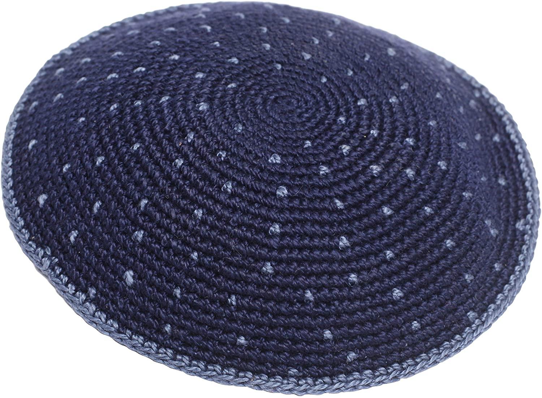 100% Cotton Hand Made Yarmulke Jewish Kippah Kippa Israel Judaica Yarmulka Yamaka Yamakah Kipa (12CM, Blue With Spots)