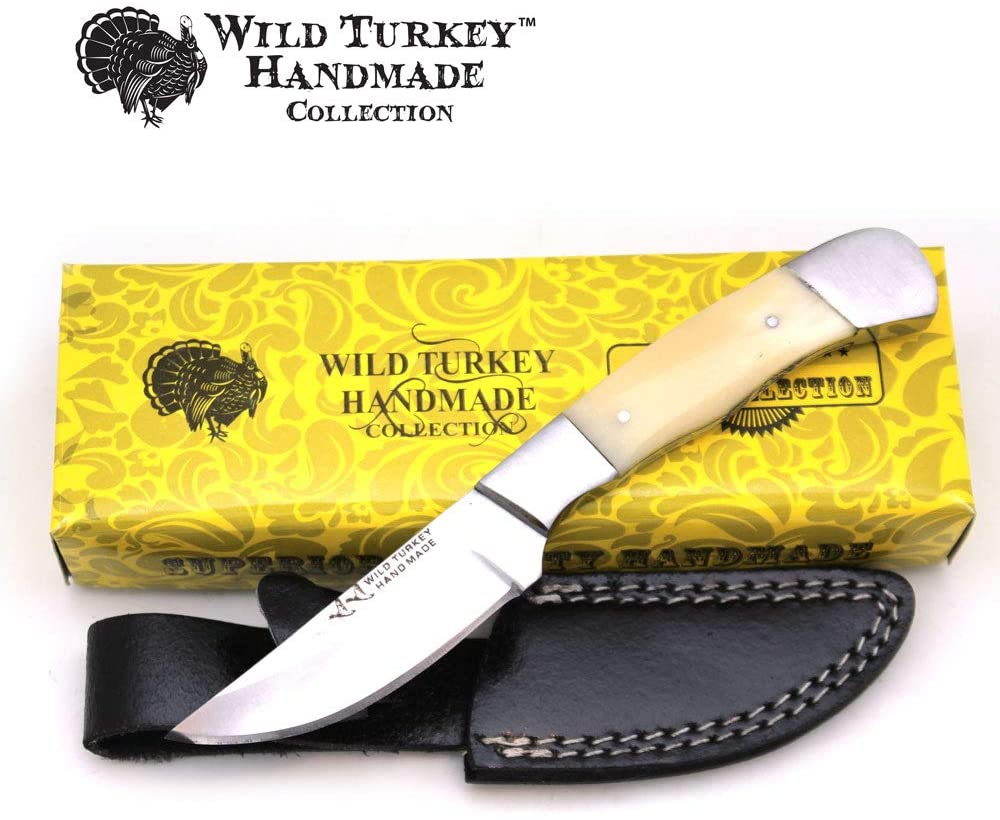Wild Turkey Handmade Collection Full Tang Camel Bone Handle Fixed Blade Hunting Knife w/Leather Sheath Outdoors Fishing Camping Hunting …
