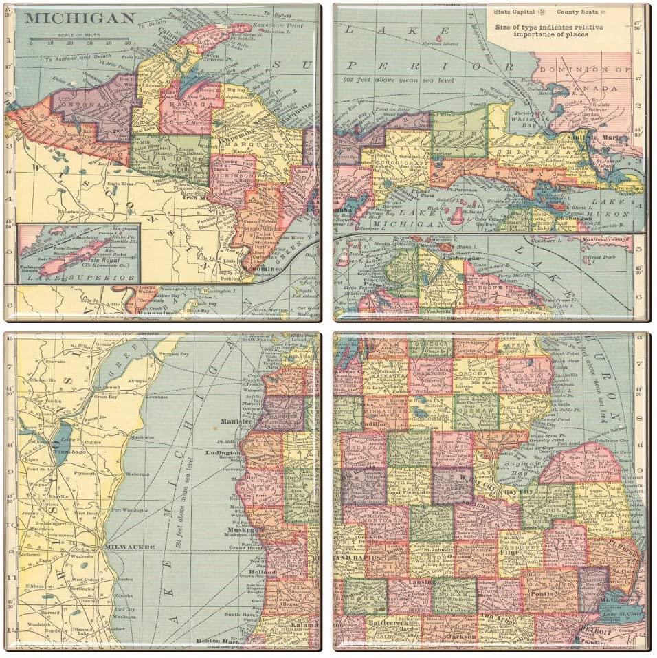 Michigan Coaster of Vintage Map (Set of 4)