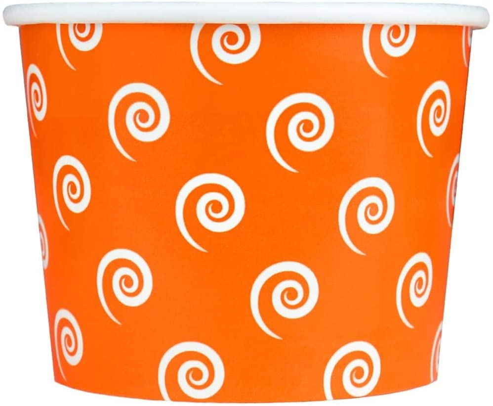 [50 Count] Halloween Orange Paper Dessert Cups - 12 oz Swirls And Twirls Ice Cream Bowls - Perfect For Your Yummy Foods! Many Colors & Sizes - Frozen Dessert Supplies