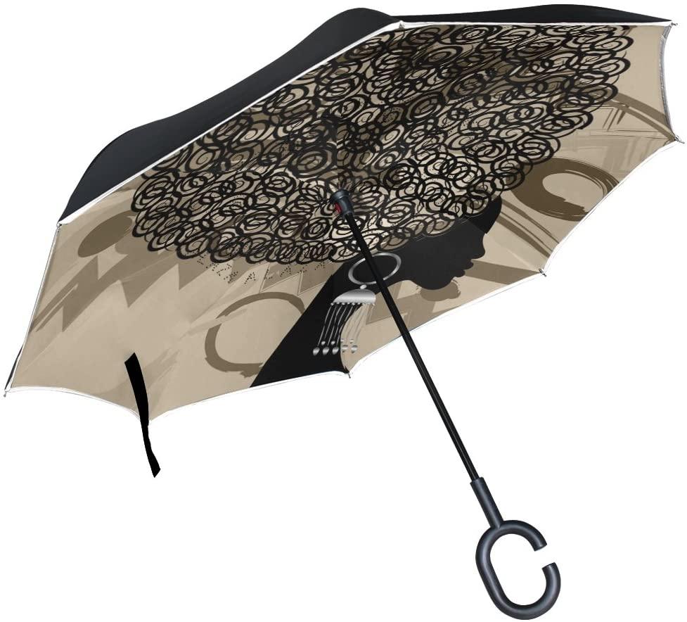 Double Layer Inverted Umbrella African American Woman Reverse Folding Travel Umbrella C Shape Handle Travel Golf Umbrella