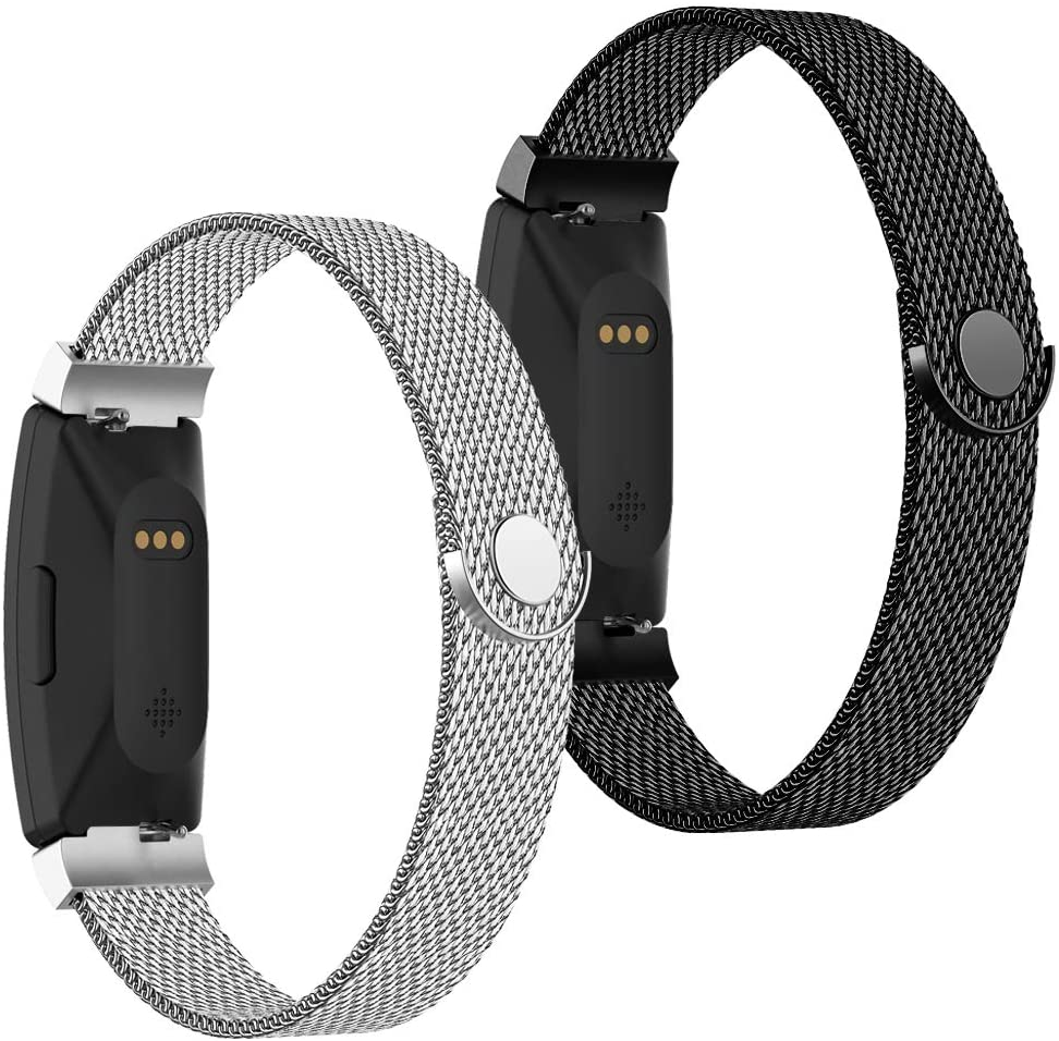 POY Compatible with Fitbit Inspire Hr Bands, Stainless Steel Replacement for Fitbit Inspire and Ace 2 Metal Loop Bracelet Sweatproof Wristbands for Women Men 2 Packs Silver Black Small