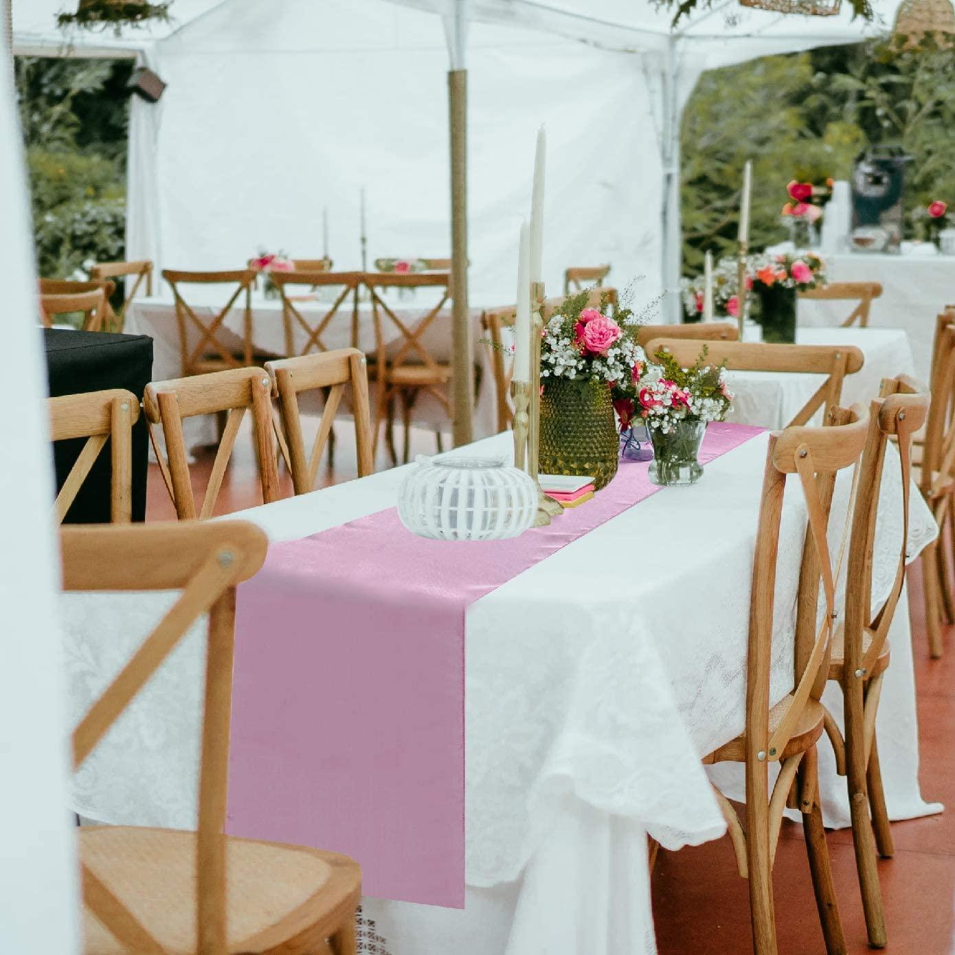 BALIBETOV Pack of 12 Satin Table Runner (Light Pink)