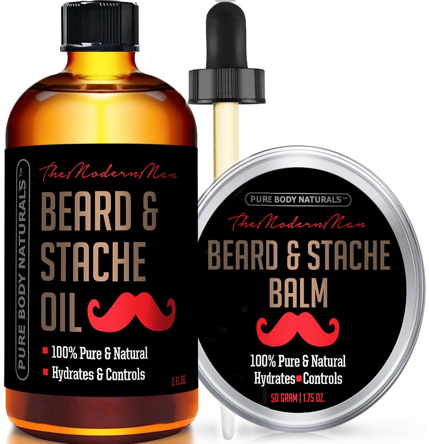 Beard Oil and Beard Balm Kit for Mustache and Beard Care - Tame, Condition and Moisturize with this Premium Grooming Set by Pure Body Naturals, Oil (2 fluid ounces) & Balm