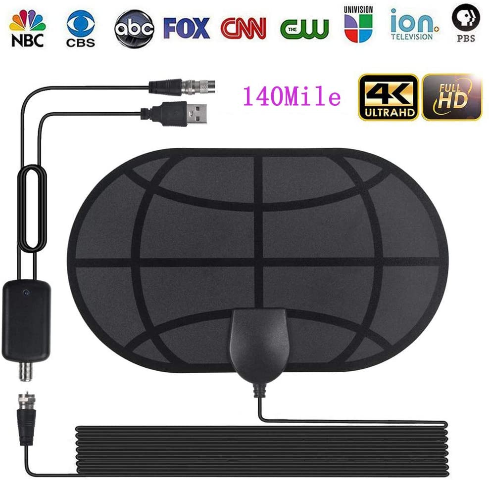 [Upgraded 2019] Digital Amplified Indoor HD TV Antenna Up to 140 Miles Range, HDTV Antenna with Amplifier Signal Booster Supports 4K 1080P UHF VHF Free View Local HDTV Channels All Types