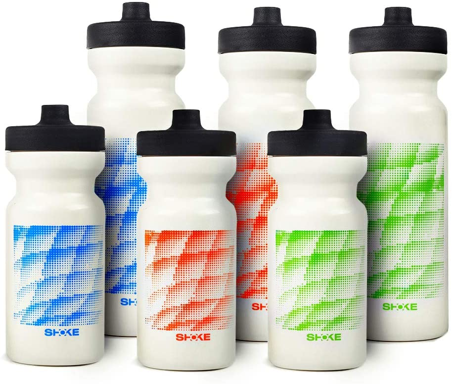 SHOKE Sports Squeeze Water Bottle with Spout, 6 Set BPA Free Pliable Plastic Sports Bottle Durable Leak-Proof Non-Slip Bulk 24Oz + 17 Oz