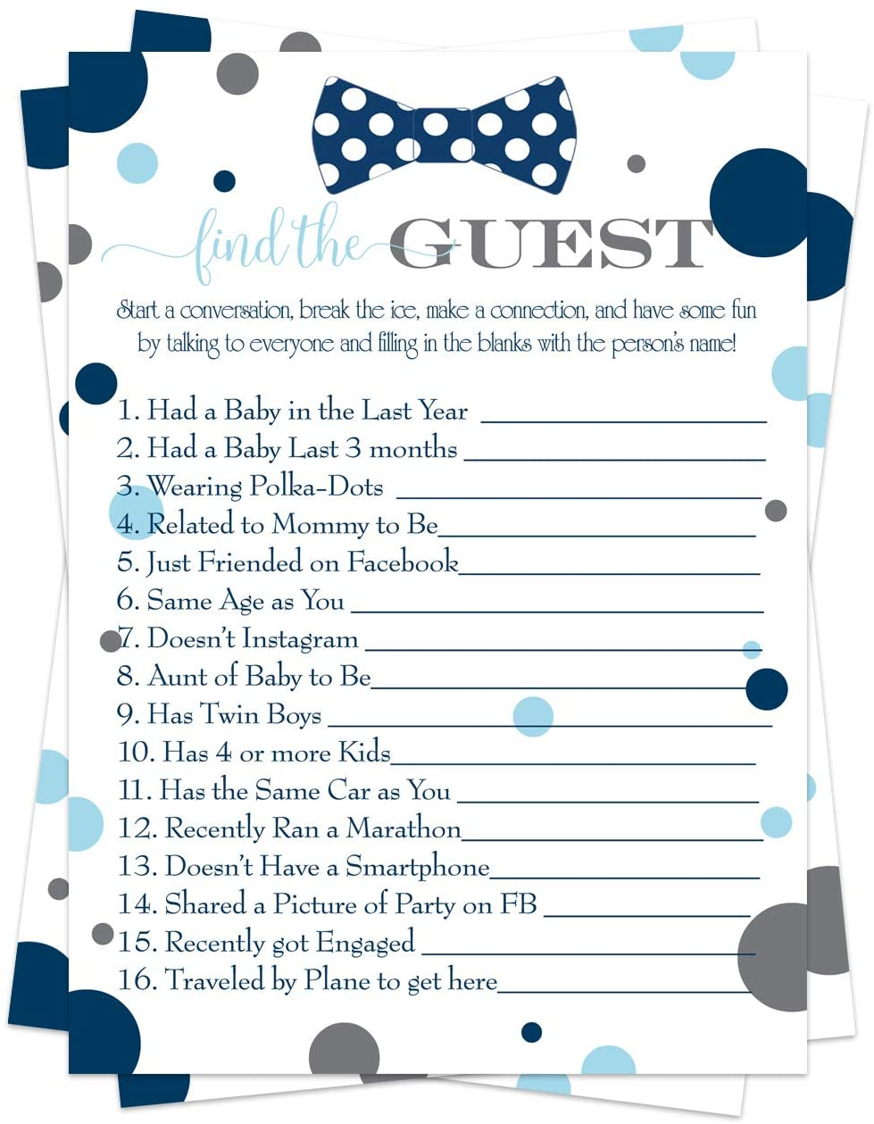 Bow Tie Baby Shower Game Pack (25 Cards) Find the Guest - Lets Mingle and Meet - Fun Conversation Starter - Oh Boy Sprinkle Activity - Little Man Party - Navy and Grey