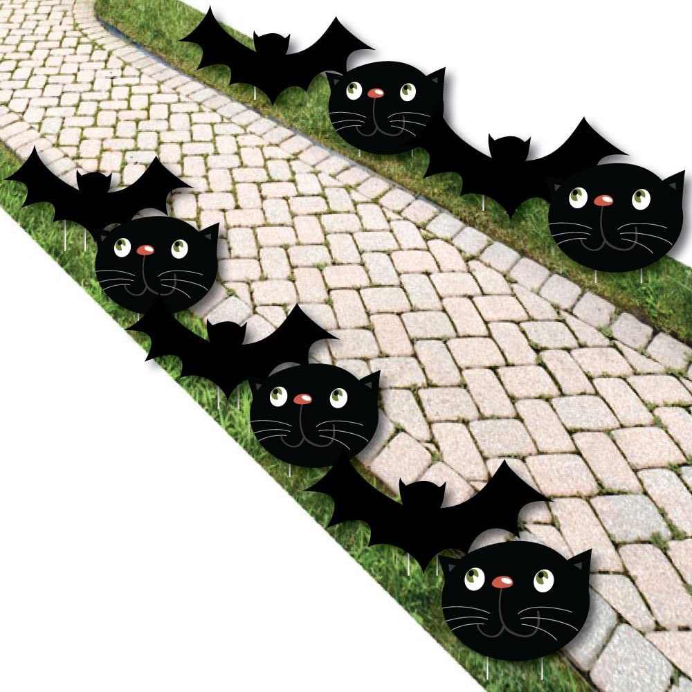 Big Dot of Happiness Black Cats and Bats - Cat and Bat Lawn Decorations - Outdoor Halloween Yard Decorations - 10 Piece