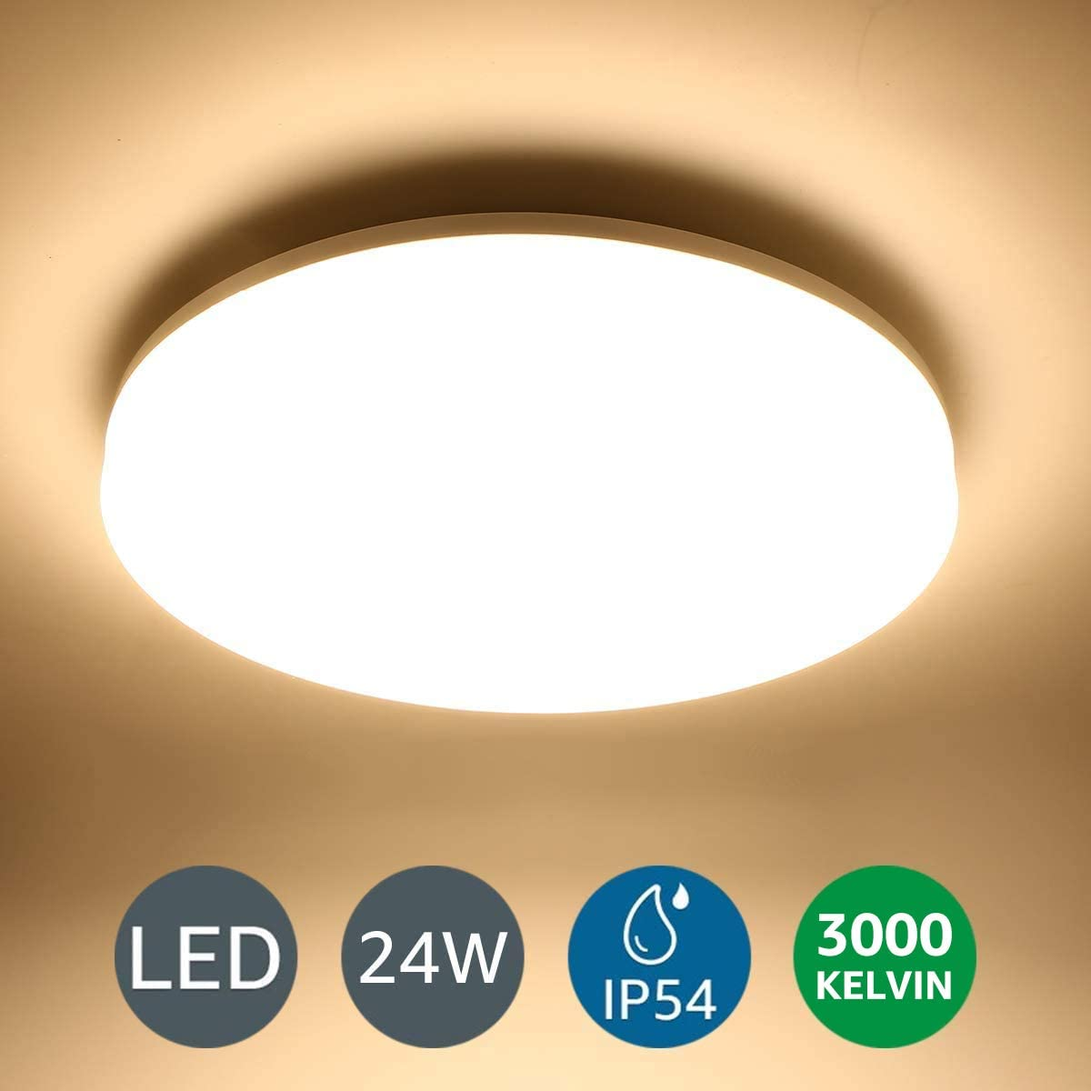 LE Flush Mount Ceiling Light Fixture Waterproof 24W LED Ceiling Light (2x100W Equivalent), 2400lm 13 Inch 3000K Warm White Ceiling Lamp for Bathroom, Kitchen, Bedroom, Porch, Hallway, Non Dimmable