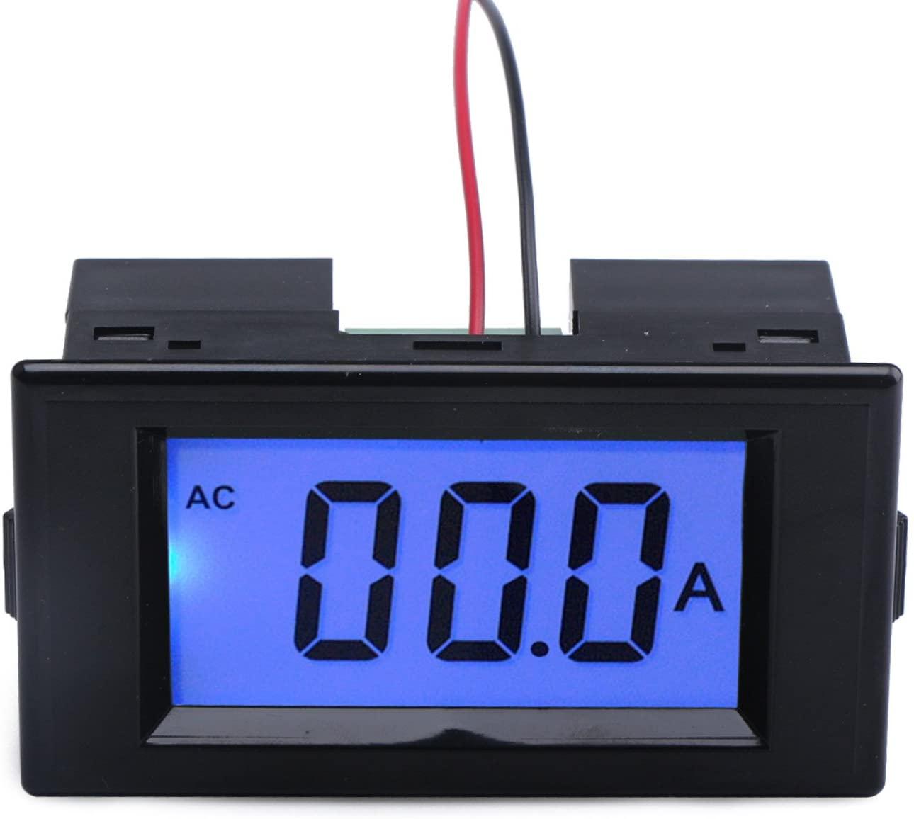 DROK Digital AC 50A Current Tester Ammeter Ampere Detector Amp Testing Meter Blue Backlight LCD Panel Display