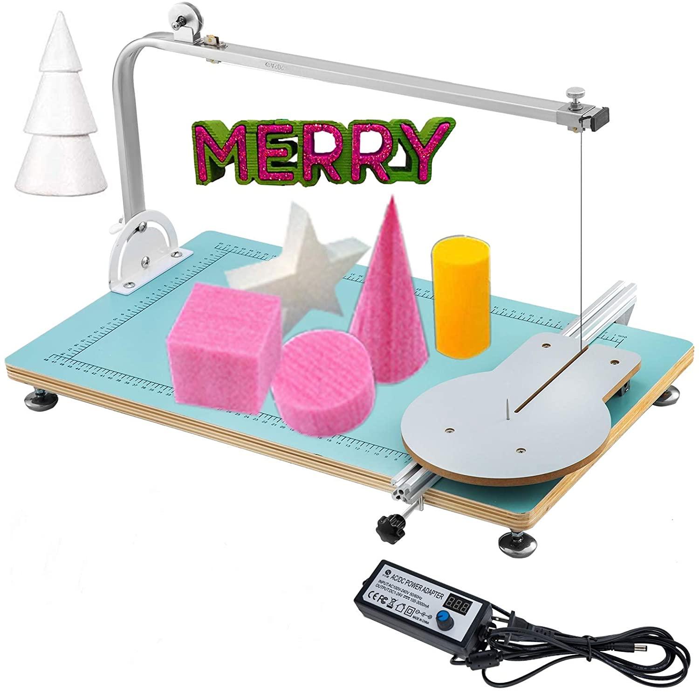 VEVOR Foam Cutter Machine 15.35x13x2.17Inch Hot Wire Foam Cutter Machine 0.28mm Heating Wire Adjustable Temperature Table Foam Circle Cutter Fire Max Cutting Height 9.8inch(Working Table:39x33x5.5CM)