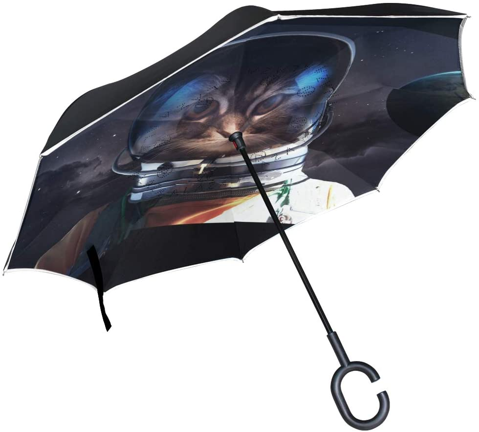 SUABO Double Layer Inverted Umbrellas Reverse Folding Umbrella Astronaut Cat Windproof Umbrella for Car Rain Outdoor with C-Shaped Handle