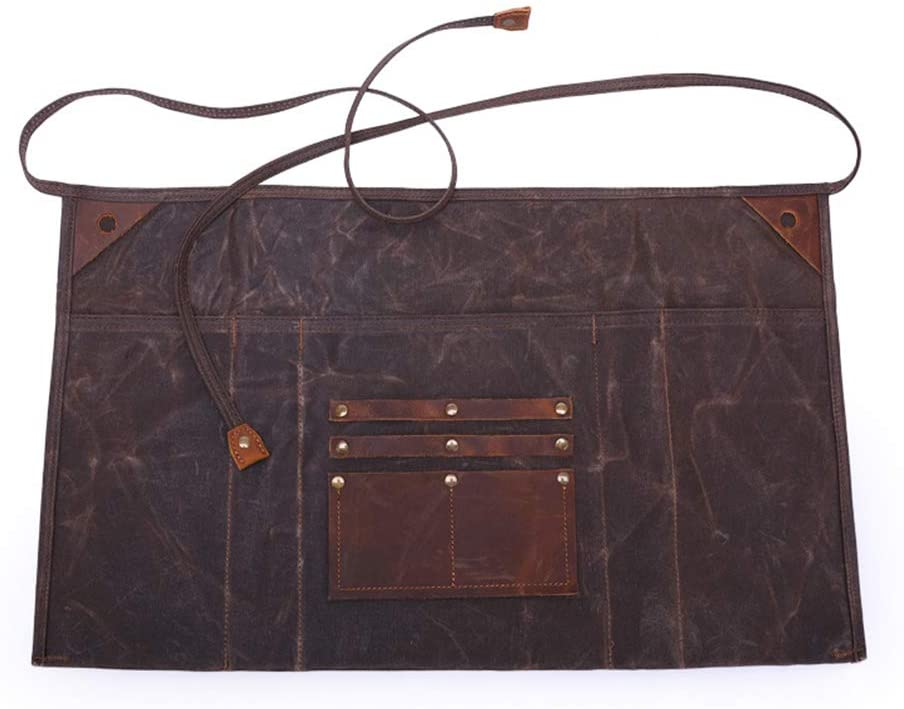 Kani Work Apron, Waxed Canvas Woodworking Apron Waterproof Tool Apron for Men and Women with Pockets, Best Gift for Woodworker Carpenter Electrician Gardener