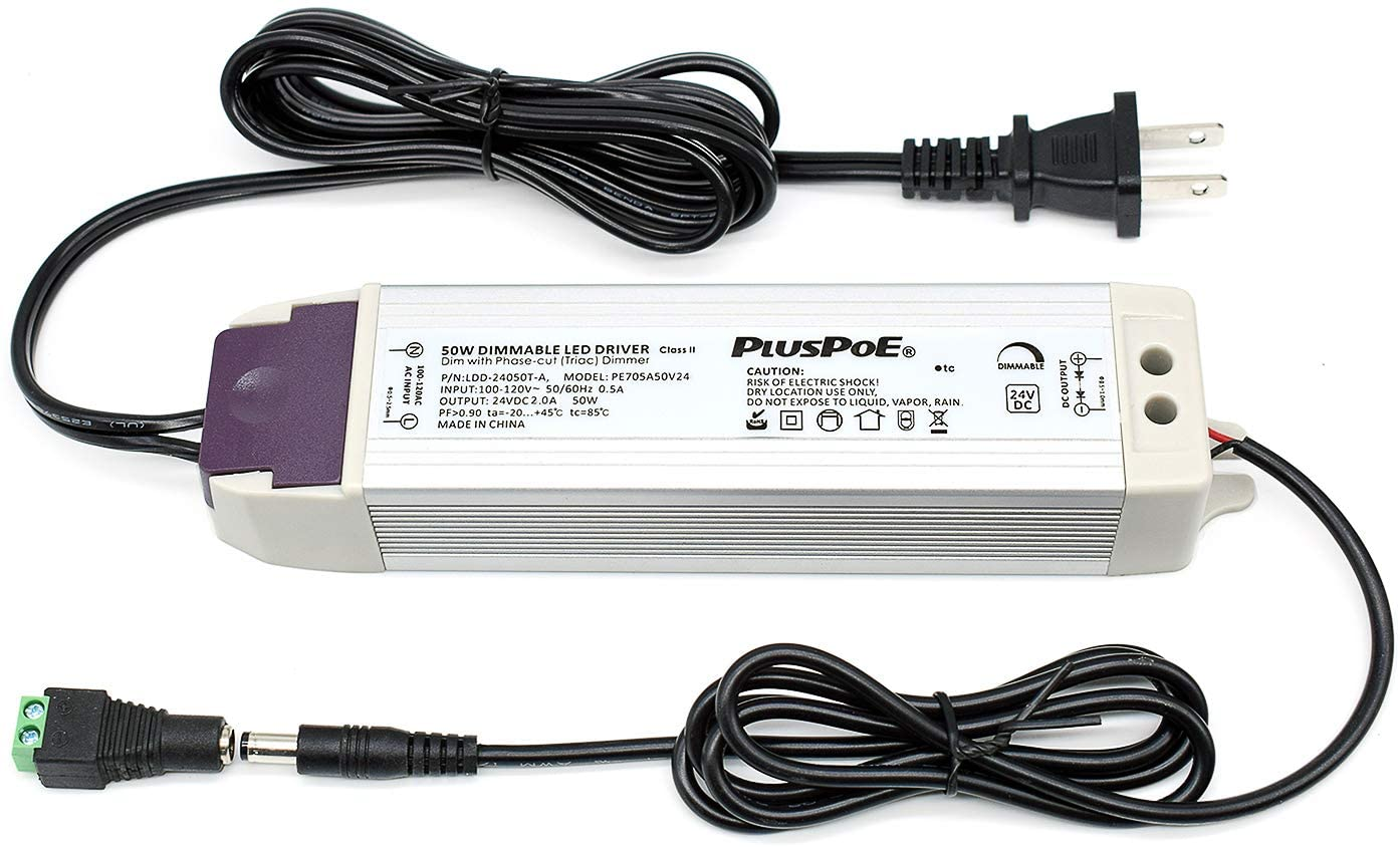 PLUSPOE LED Light Strip 50W Dimmable Driver(2A),Magnetic,110V AC to 24V DC Transformer,Low Voltage Power Supply,Compatible with Lutron and Leviton dimmer, For Kitchens, Cabinets, Bedrooms and More