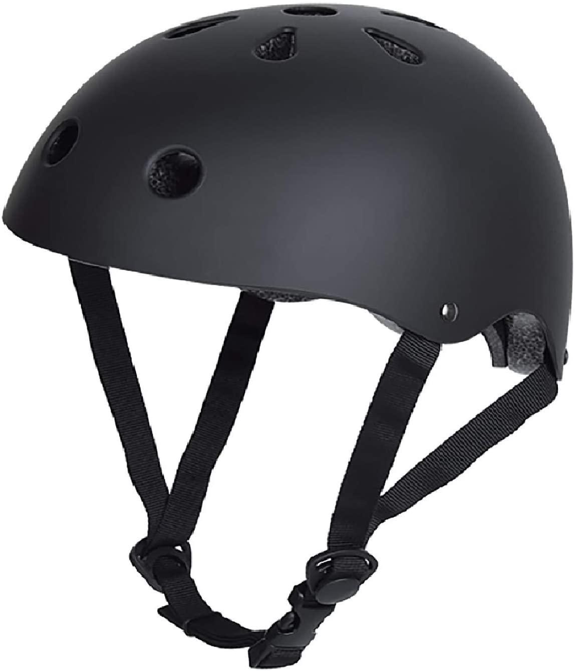 QiSa Dual Certified Skateboard Helmet Multi-Sports Cycling Skateboarding Scooter Roller Skate Inline Skating Rollerblading Longboard… (Black, Large)