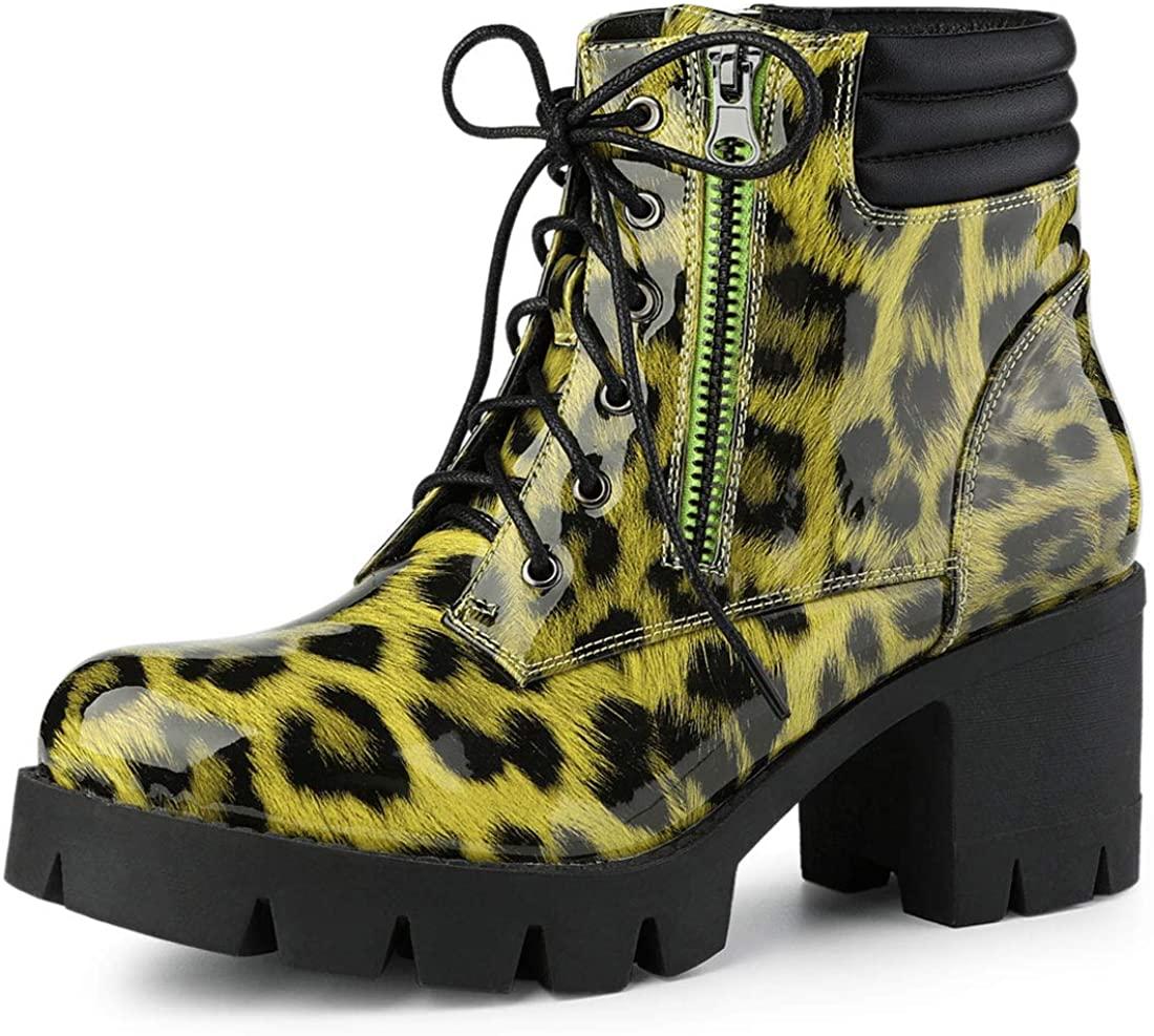 Allegra K Women's Leopard Printed Block Heels Combat Boots