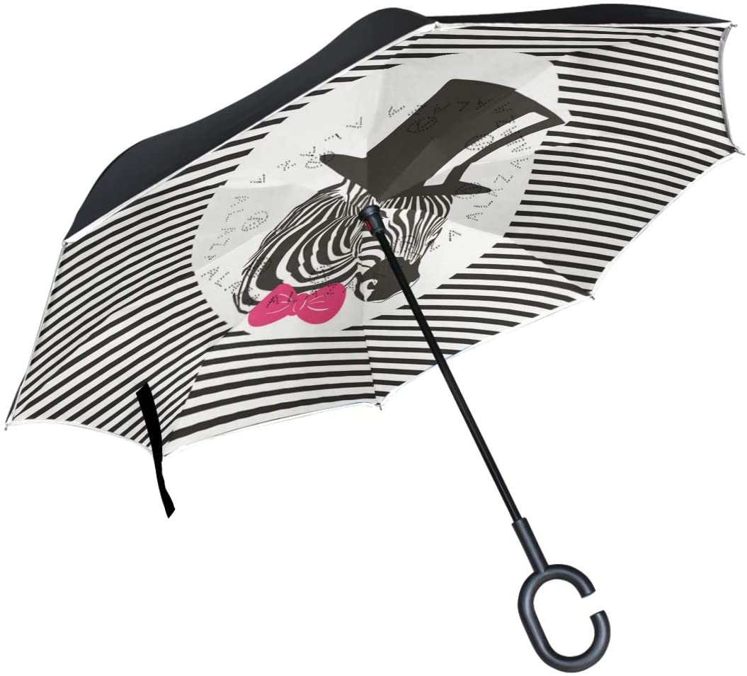 Inverted Umbrella with C-Shaped Handle Large Double Layer UV Protection Outdoor Rain Sun Car Reversible Umbrella for Men Women