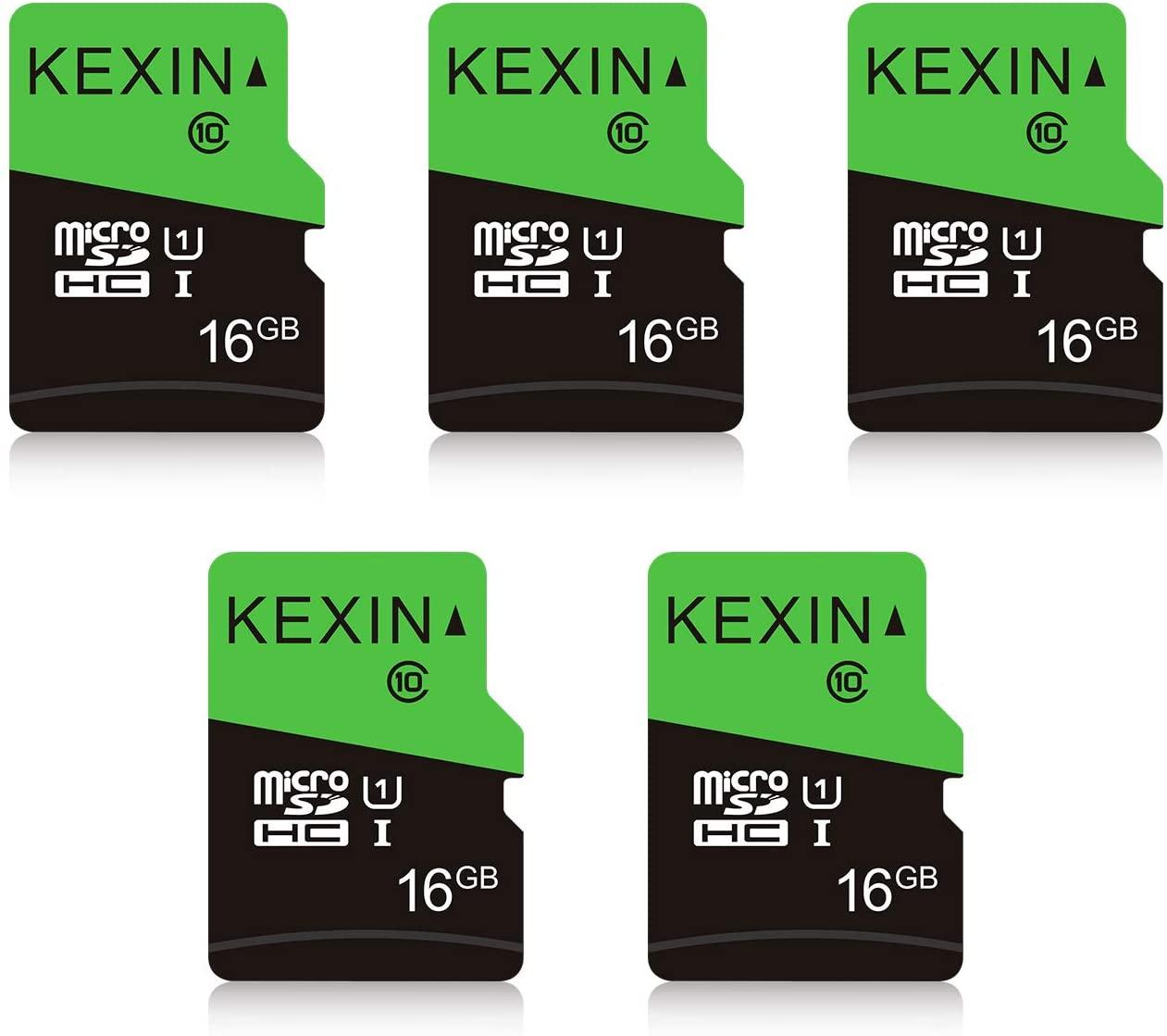 KEXIN Micro SD Card 16 GB 5 Pack MicroSDHC UHS-I Memory Card Class 10 High Speed Micro SD Card, C10, U1