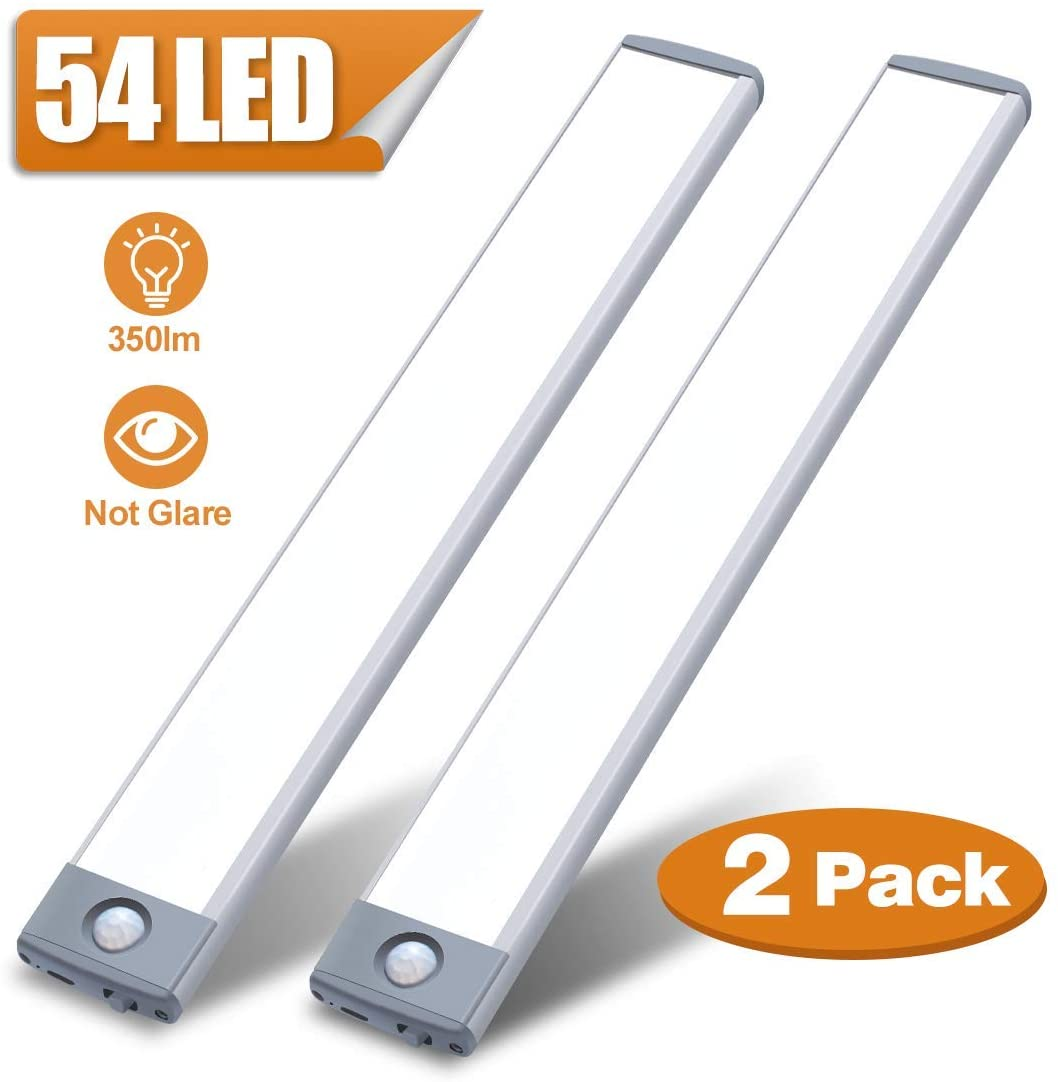 Motion Sensor Closet Light 54 LED Under Cabinet Night Lighting, 2500mAh Rechargeable Ultra Thin Magnetic Closet Lighting, 350lm Homelife Led Lights for Kitchen, Stairs, Bedroom(White, 2Pack)