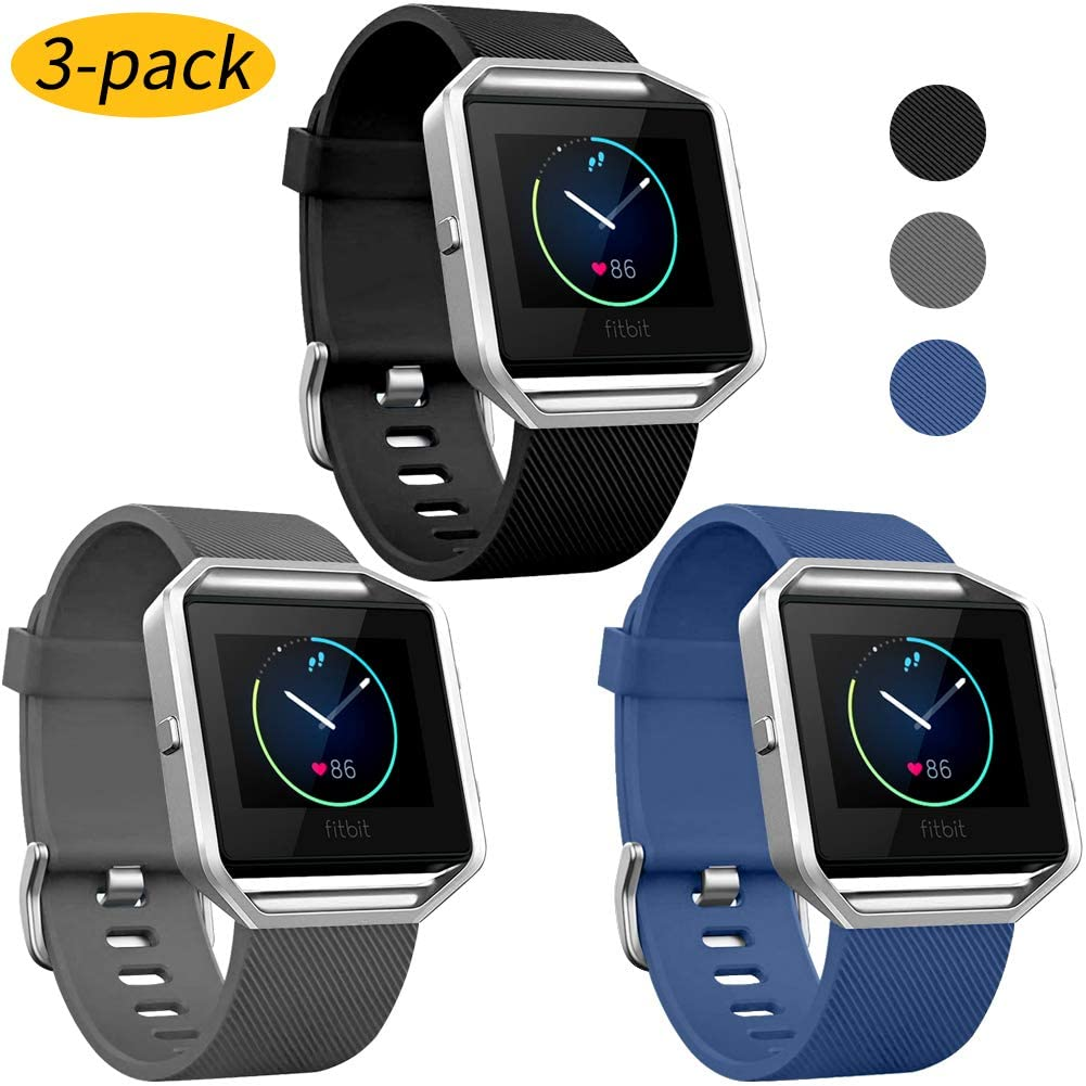Watbro Sport Bands Compatible with Fitbit Blaze Bands Soft Silicone Breathable Waterproof Sport Watch Strap Band Strap Band Replacement Wristband Accessories Women Man for Fitbit Blaze