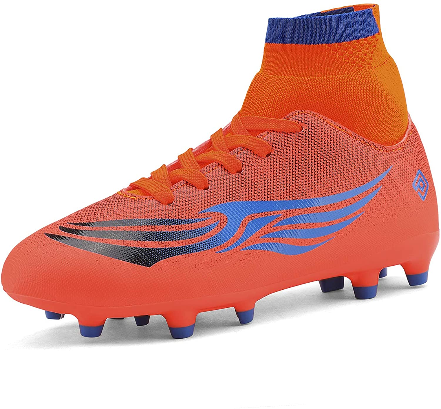 DREAM PAIRS Girls Orange Blue Soccer Football Cleats Athletic Shoes Size 4 M US Big Kid HZ19009K