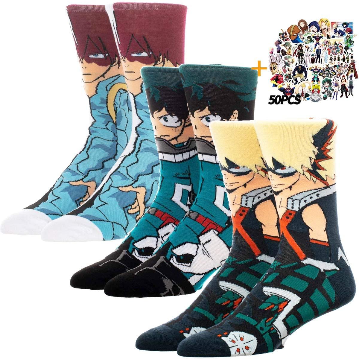 My Hero Academia Character Socks Izuku Katsuki Shoto Todoroki Cosplay Socks Women & Men's (Izuku+Katsuki+Todoroki)