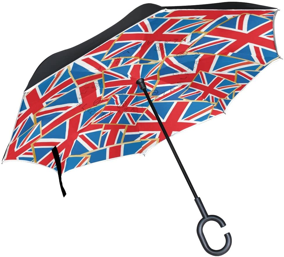 ALAZA Stylish Union Jack Flags Windproof UV Proof Reverse Folding Umbrella, Double Layer Travel Inverted Umbrella with C Shape Handle for Car Use