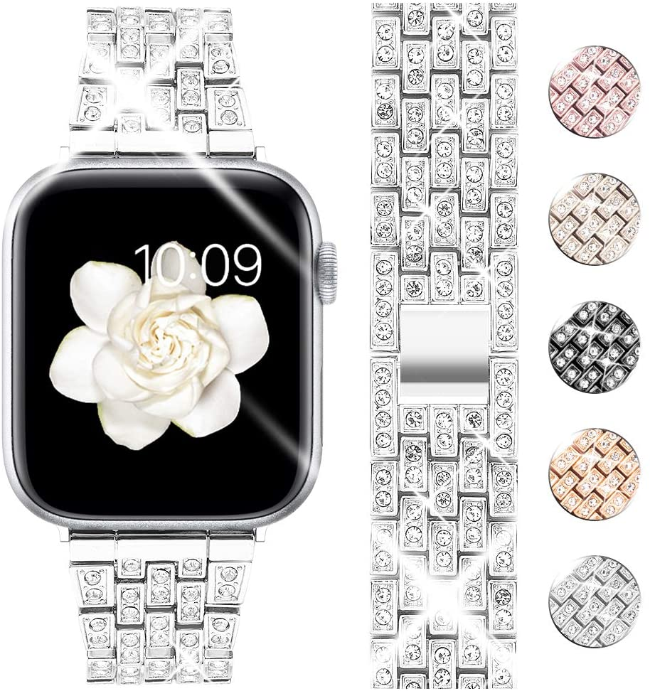 Goton Bling Band Compatible for Apple Watch Band 44mm 42mm, Women Luxury Diamond Bling Crystal Stainless Metal Replacement Strap for iWatch Band Series 5 4 3 2 1 (Silver - 44mm 42mm)
