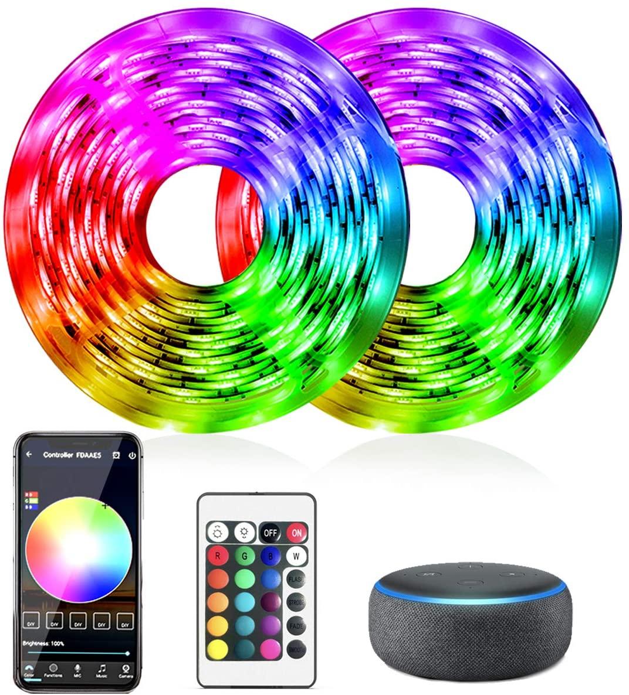 LED Strip Lights, DAYBETTER 32.8 FT Smart Strip Lights 5050 Tape Light Kit Work with Alexa Google Assistant WiFi Rope Light APP Controlled Smart Light Strip 300LEDs for Home, Bedroom, Kitchen