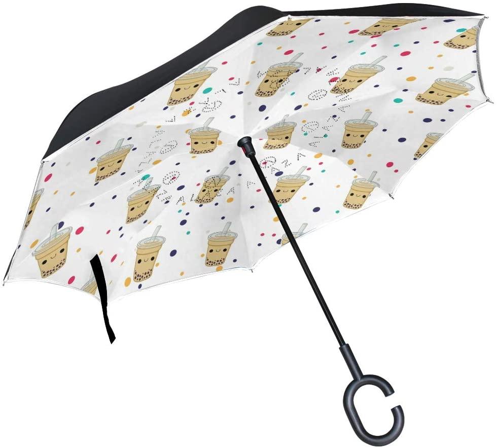 DKRetro Double Layer Cute Bubble Tea Inverted Umbrellas- Reverse Folding Umbrella for Car, C-Shaped Handle Umbrella with Light Reflection Strip