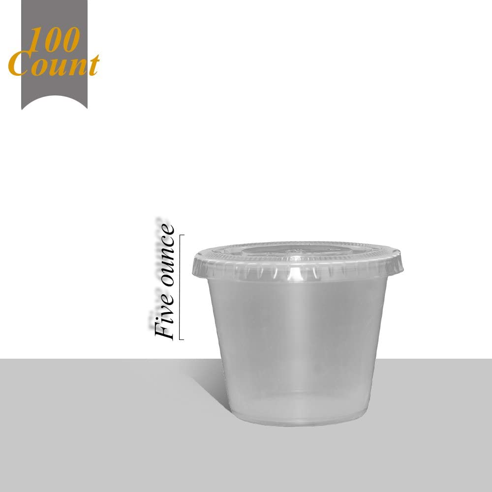 Primebaker Disposable Translucent Plastic Cups with Lids, 100 Count - 5 Ounce