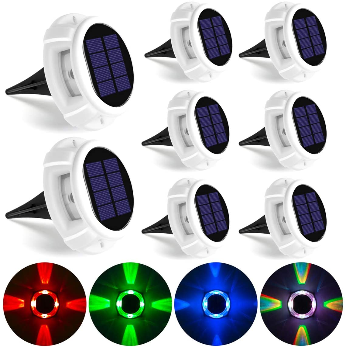 GIGALUMI Solar Deck Lights Outdoor, Solar Ground Lights with 5 Lighting Modes, Bright RGB Color Waterproof Disk Lights for Dock, Garden, Ground, Stair, Driveway, Pathway, Landscape(8 Pack)