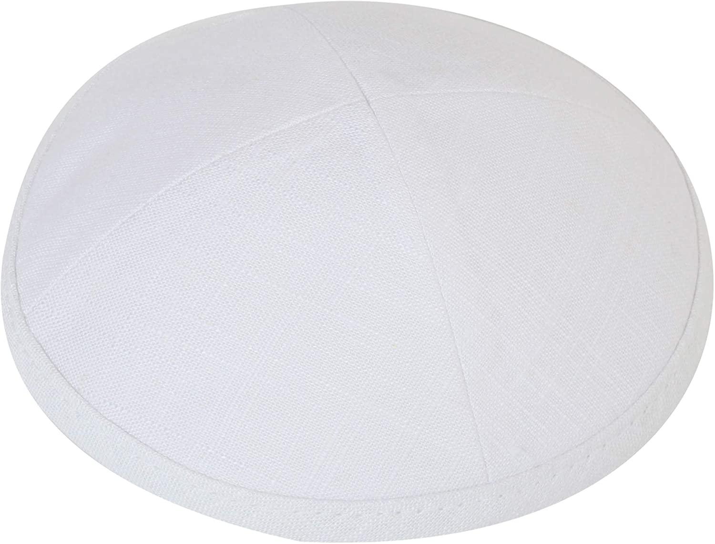 KIPPIK Linen Kippah Hat for Men & Kids –Beautifully, Breathable, Comfy, Soft, Yamaka Kippa –for Celebrating, (White)