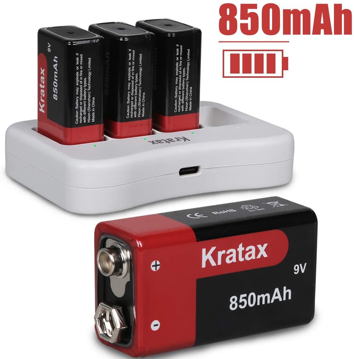 9v Battery and Charger Kratax 4-Packs 850mAh Li-ion Rechargeable Batteries with 4 Slot Charger, for Smoke Alarms, Guitar, Cameras, Walkie Talkies, Toy Remotes, Microphones and Other Devices