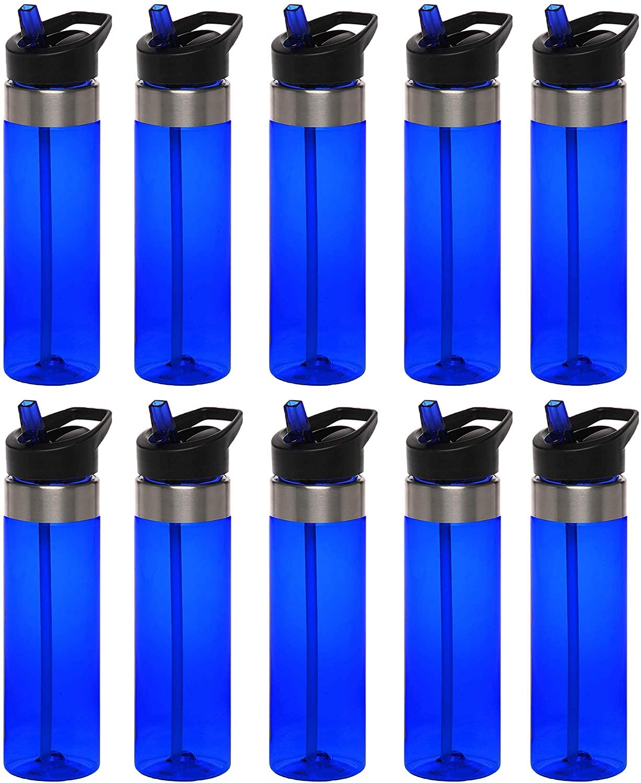 Plastic Water Bottle 24 oz with Inside Straw - BPA Free, Screw-On Cap, Flip Top Nozzle Mechanism - Slim Translucent Body - Eastman Tritan Copolyester - Blue - 10 Pack