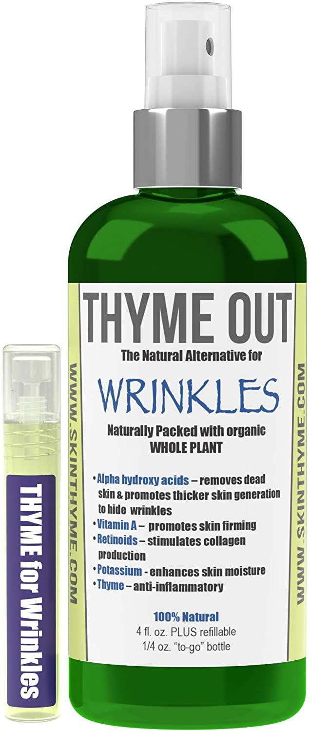 Thyme Out Natural Alternative for Wrinkles (4oz) - Anti-Aging Facial Mist with Natural Retinol, Bakuchiol and AHA - Organic Skin Toner for a Soft, Supple Complexion - Mini Spray Bottle Included