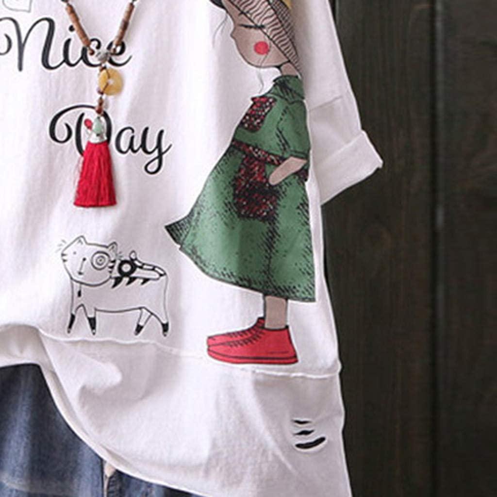 Fashion Women O-Neck Short Sleeve Cartoon Print Cotton and Linen Top Blouse Dress Blouses Tops