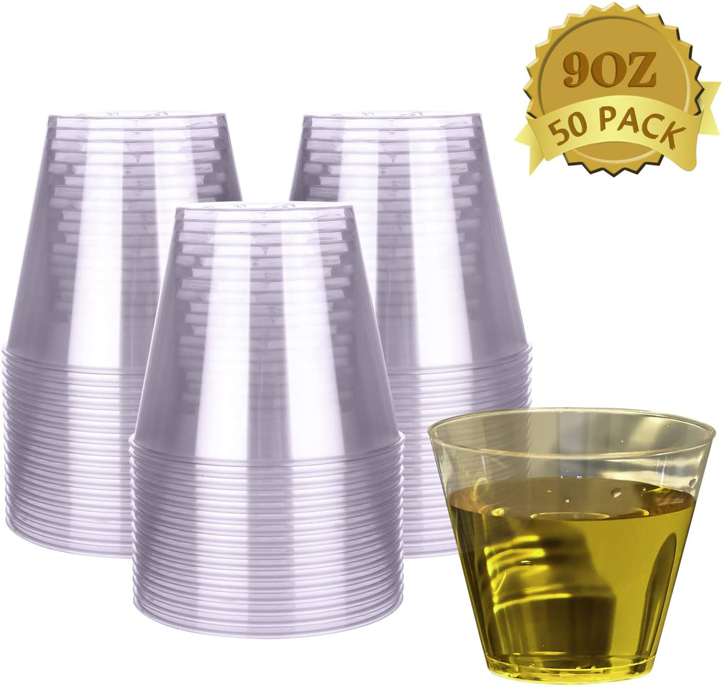 HyHousing 9 Oz Clear Plastic Cups 50 Pack, Hard Disposable Plastic Cups Tumblers Ideal for Daily Life at Home, Party Wedding Drinking Wine Tasting Food Samples (T9-50)